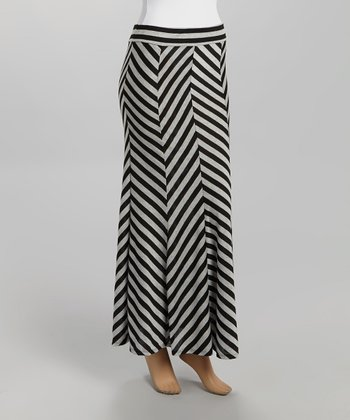 Gray & Black Chevron Maxi Skirt - Women