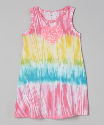 Turquoise & Yellow Tie-Dye Heart Dress - Toddler & Girls