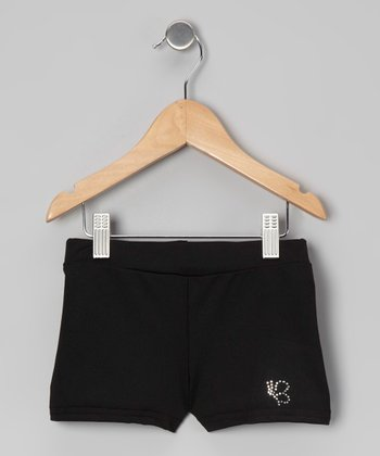 Black Rhinestone Dance Shorts - Girls