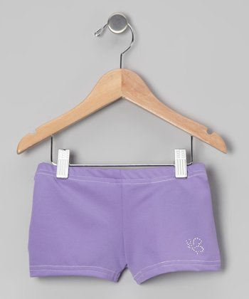 Lavender Rhinestone Dance Shorts - Girls