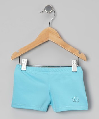 Turquoise Rhinestone Dance Shorts - Girls