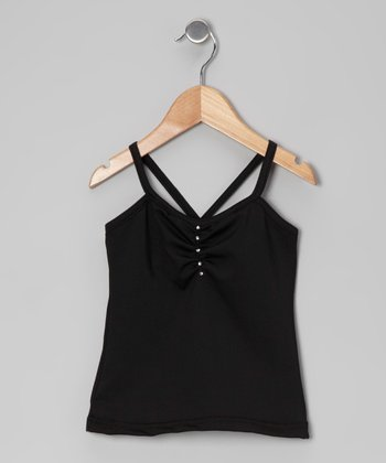 Black Rhinestone Pinch Pleat Camisole - Girls