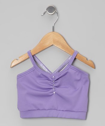 Lavender Rhinestone Pinch Pleat Sports Bra - Girls