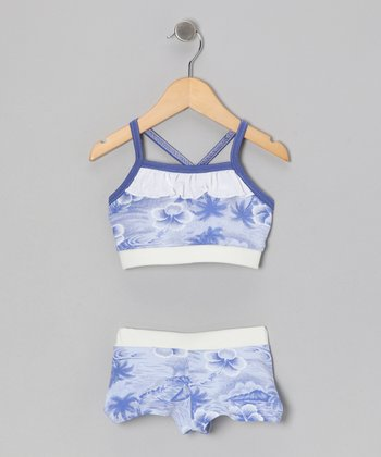 Blue & White Tropical Bikini