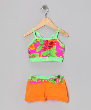 Orange & Green Tropical Bikini