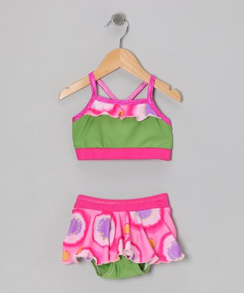 Pink & Green Circle Swirl Skirted Bikini