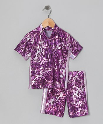Purple Panther Foil Rashguard Set