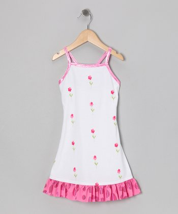 White & Pink Floral Foil Sun Dress - Girls