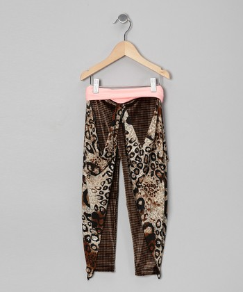 Coral Houndstooth Cheetah Gaucho Pants - Girls