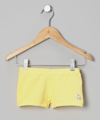 Yellow Butterfly Shorts - Girls