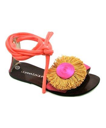 Liliana E. Peach & Black Rosqueton Pom-Pom Sandal