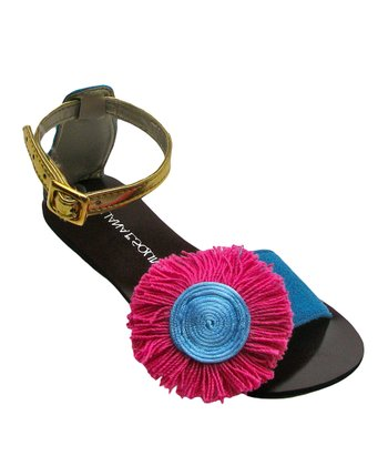 Liliana E. Pink & Black Rosqueton Pom-Pom Sandal