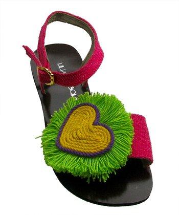 Liliana E. Fuchsia & Green Corazon Gladiator Sandal