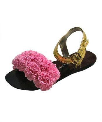 Liliana E. Pink & Black Ruffle Flores Sandal