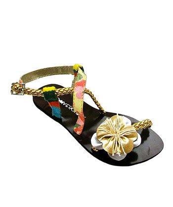 Liliana E. Gold & Green Trenzitas Sandal
