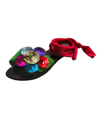 Liliana E. Red & Green Sequin Pupis Sandal