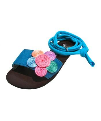 Liliana E. Blue & Black Flower Pupis Sandal