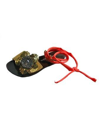 Liliana E. Peach & Gold Sequin Pupis Sandal