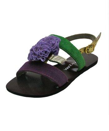 Liliana E. Black & Purple Rose Sandal
