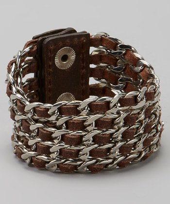 Brown Leather & Silver Braided Bracelet