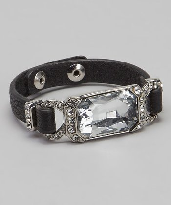 Black Leather Sparkle Bracelet