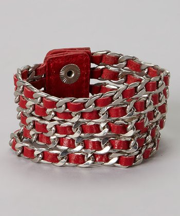 Red Leather & Silver Braided Bracelet
