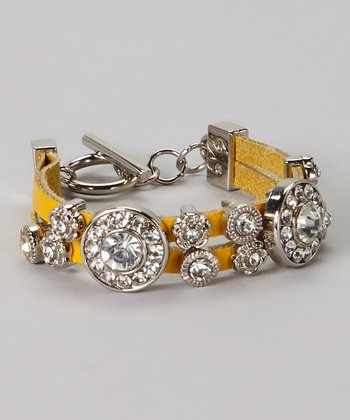 Yellow Leather Circle Stone Bracelet