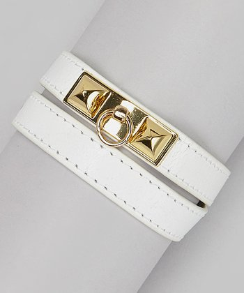 Gold & White Leather Pyramid Wrap Bracelet