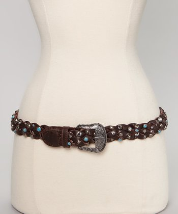 Turquoise Studded Brown Leather Braided Belt