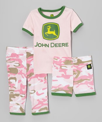 Pink & Green Camo Pajama Set - Girls