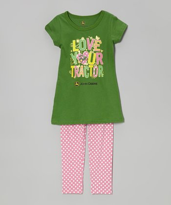 Green & Pink 'Love Your Tractor' Tee & Polka Dot Pants - Girls