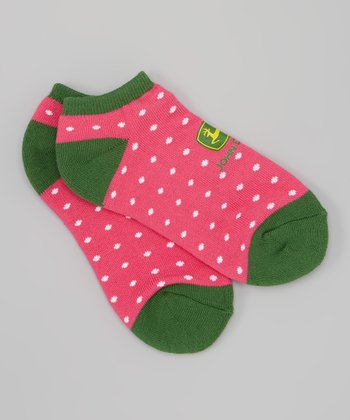 Pink Polka Dot Socks - Women