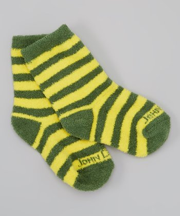 Yellow & Green Stripe Slippers - Girls