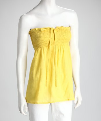 Yellow Shirred Top