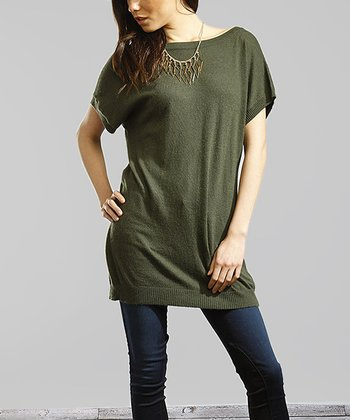 Dark Green Back-Button Tunic