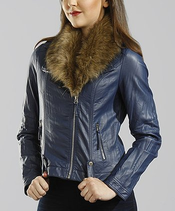 Blue Faux Fur Bomber Jacket