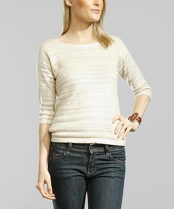 Oatmeal Three-Quarter Sleeve Boatneck Sweater