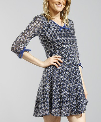 Blue Abstract Three-Quarter Sleeve Skater Dress