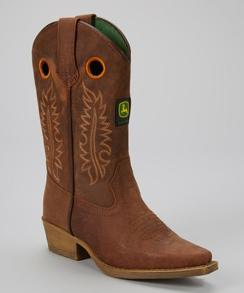 Medium Brown Leather Cowboy Boot