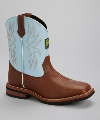 Light Blue & Brown Cowboy Boot