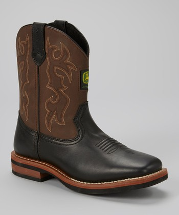 Brown & Black Leather Cowboy Boot