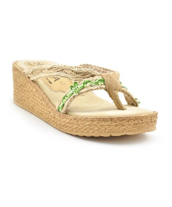 Natural & White Flower Girl Wedge Espadrille