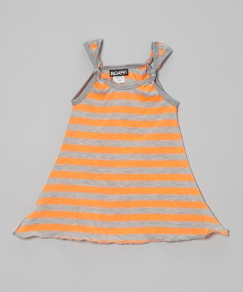 Orange Stripe Tie Dress