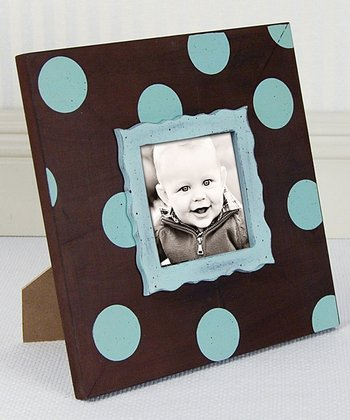 Tiffany Blue & Chocolate Polka Dot Frame