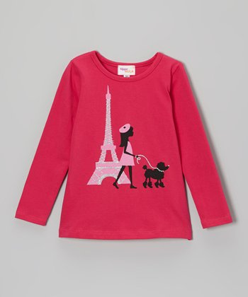 Hot Pink Paris Poodle Glitter Tee - Toddler & Girls