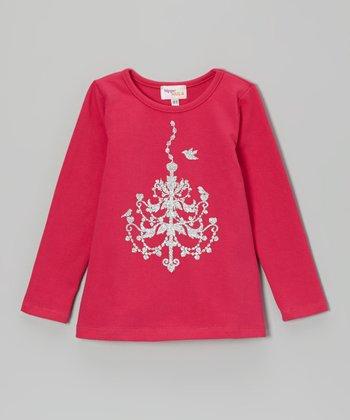 Hot Pink & Silver Glitter Chandelier Tee - Toddler & Girls