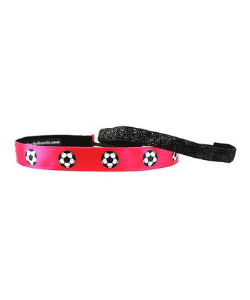 Pink & Black Soccer Balls Headband Set
