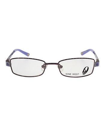 Violet Floral Rectangular Eyeglasses