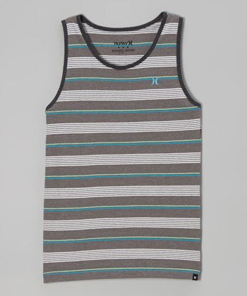 Gray Heather Stripe Tank - Boys