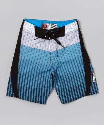 Micros White & Blue Method Boardshorts - Boys